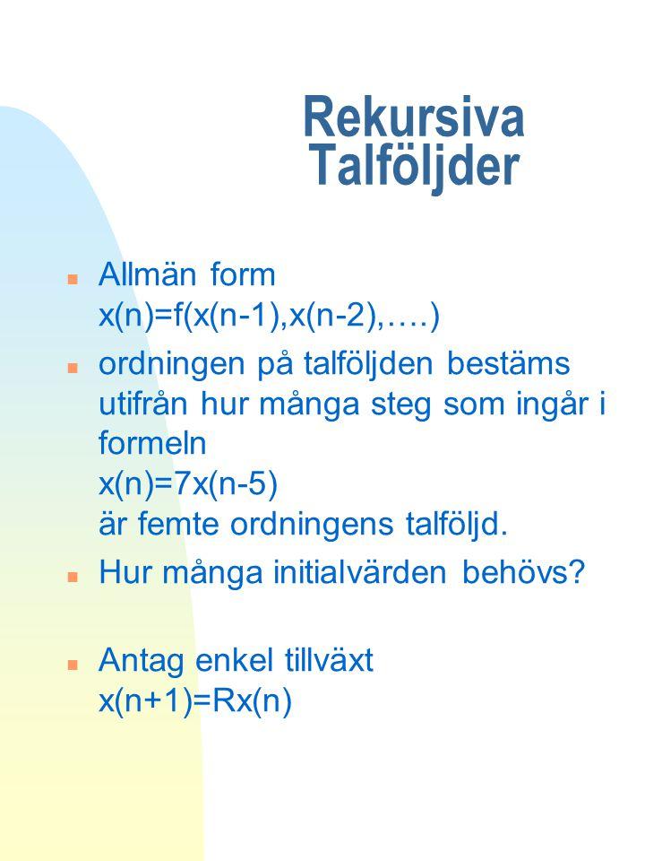 Rekursiva Talföljder Allmän form x(n)=f(x(n-1),x(n-2),….)