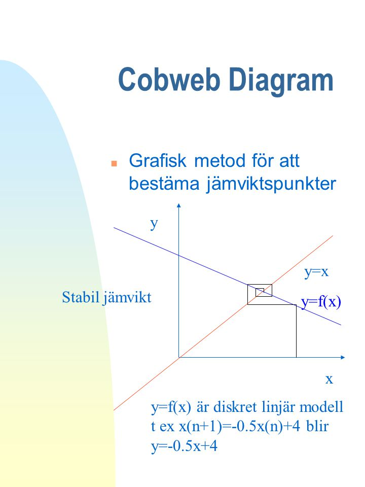 Cobweb Diagram Grafisk metod för att bestäma jämviktspunkter y y=x