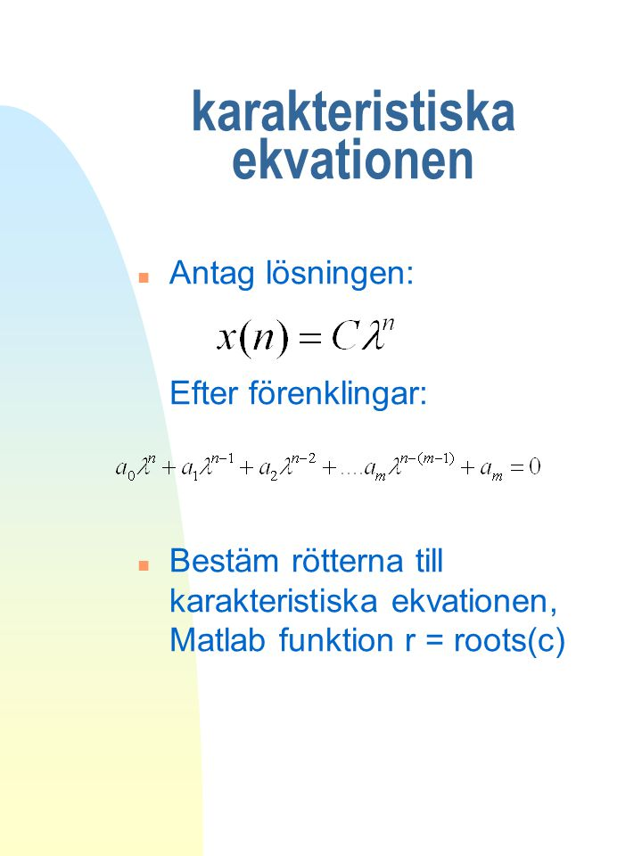 karakteristiska ekvationen