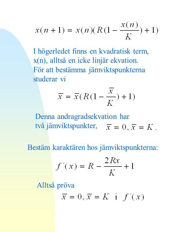 I högerledet finns en kvadratisk term, x(n), alltså en icke linjär ekvation.