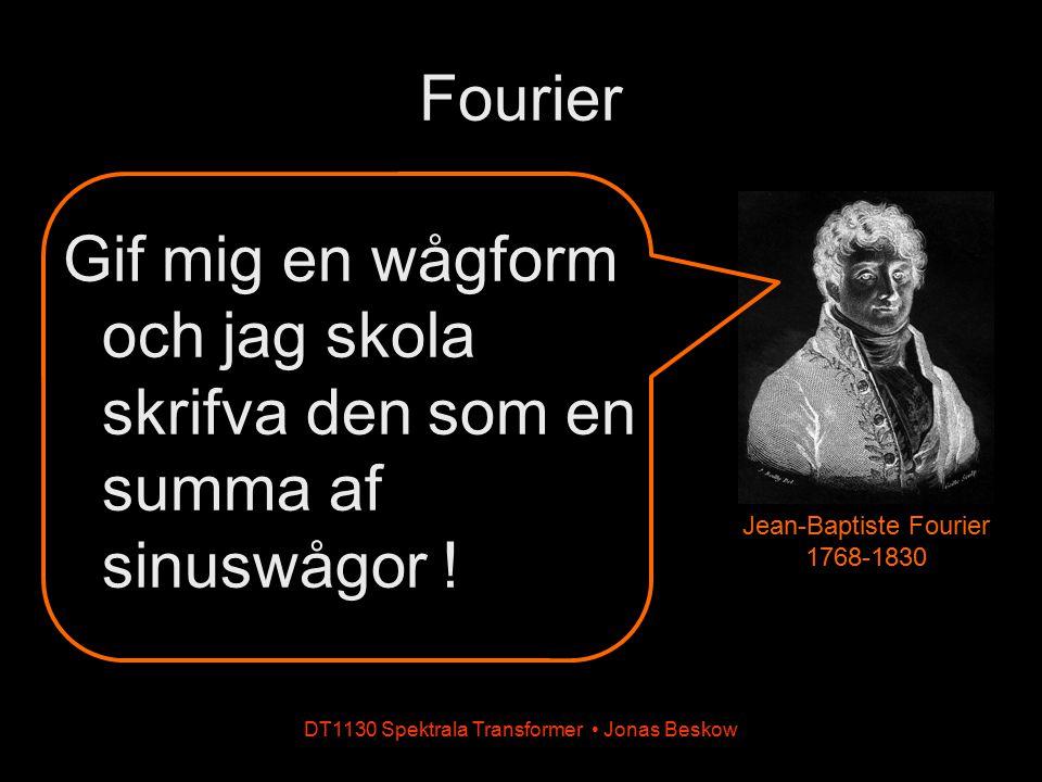 Fourier Gif mig en wågform och jag skola skrifva den som en summa af sinuswågor ! Jean-Baptiste Fourier 1768-1830.