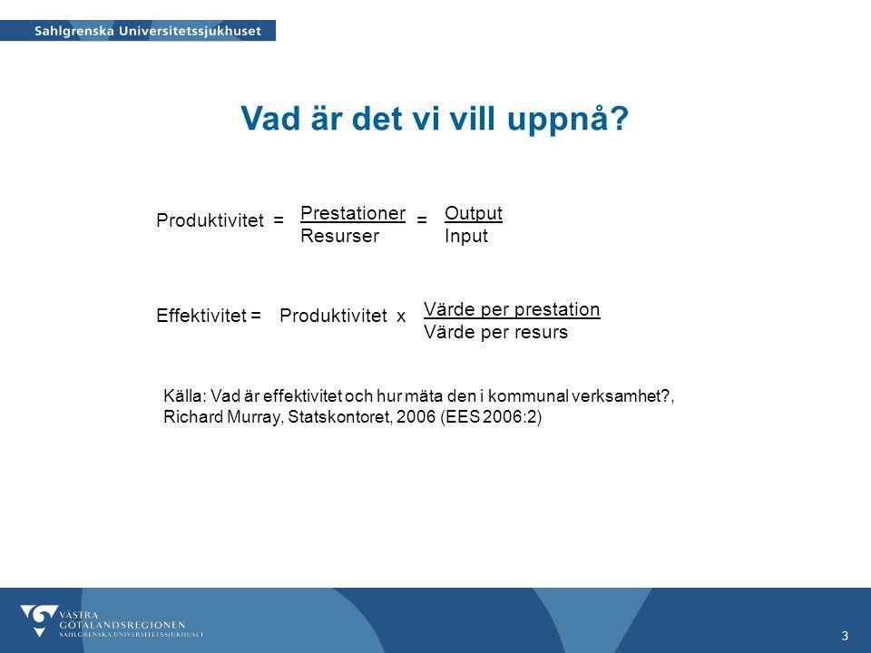 Vad är det vi vill uppnå Prestationer Resurser Output Input