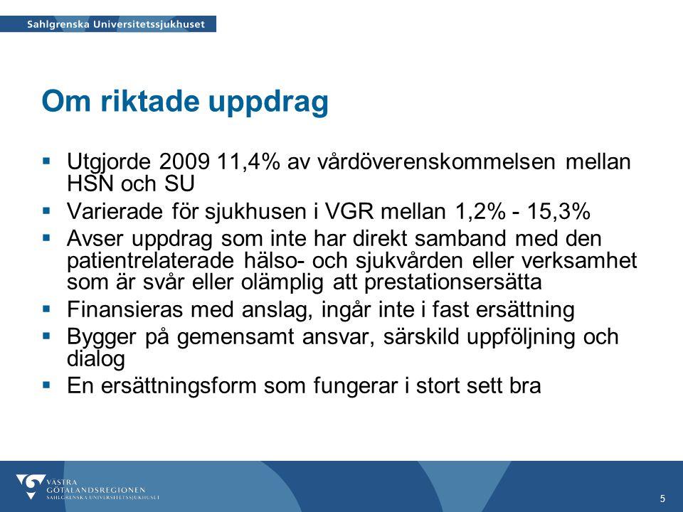 Om riktade uppdrag Utgjorde 2009 11,4% av vårdöverenskommelsen mellan HSN och SU. Varierade för sjukhusen i VGR mellan 1,2% - 15,3%
