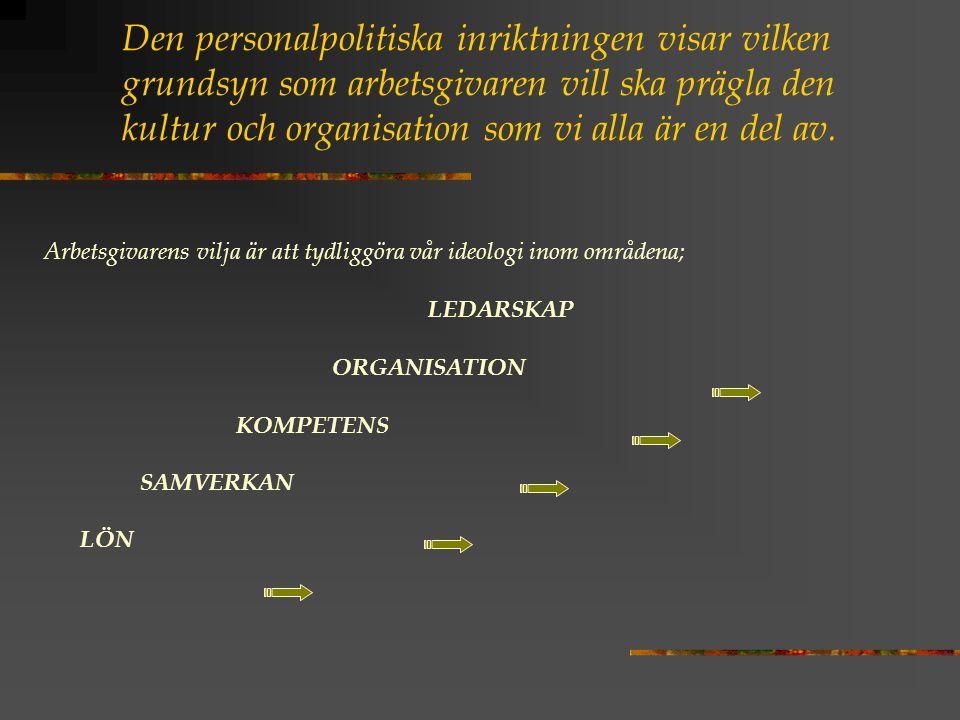 Den personalpolitiska inriktningen visar vilken grundsyn som arbetsgivaren vill ska prägla den kultur och organisation som vi alla är en del av.