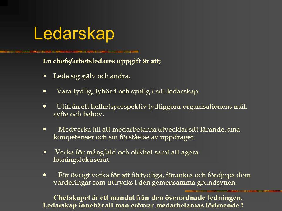 Ledarskap En chefs/arbetsledares uppgift är att;