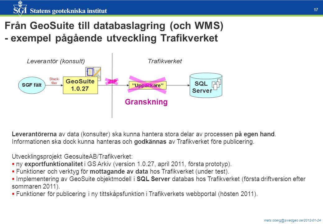 Från GeoSuite till databaslagring (och WMS)