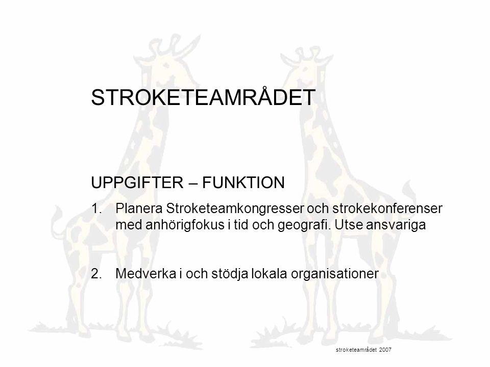 STROKETEAMRÅDET UPPGIFTER – FUNKTION