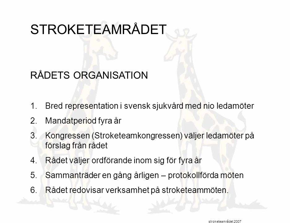 STROKETEAMRÅDET RÅDETS ORGANISATION