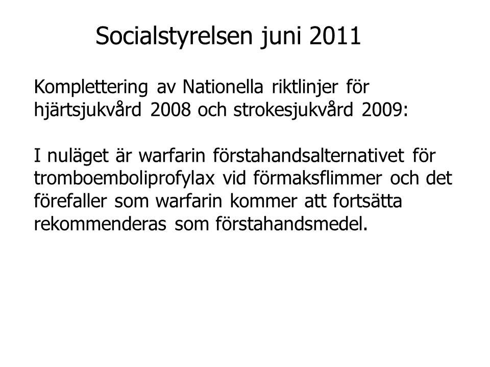 Socialstyrelsen juni 2011 Komplettering av Nationella riktlinjer för hjärtsjukvård 2008 och strokesjukvård 2009: