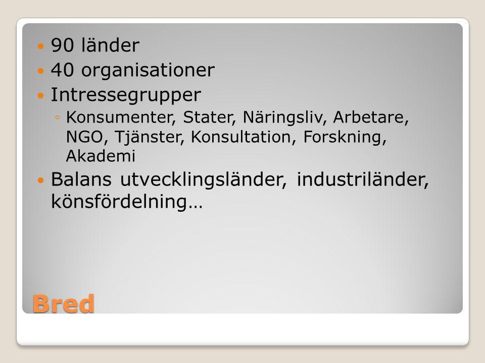 Bred 90 länder 40 organisationer Intressegrupper