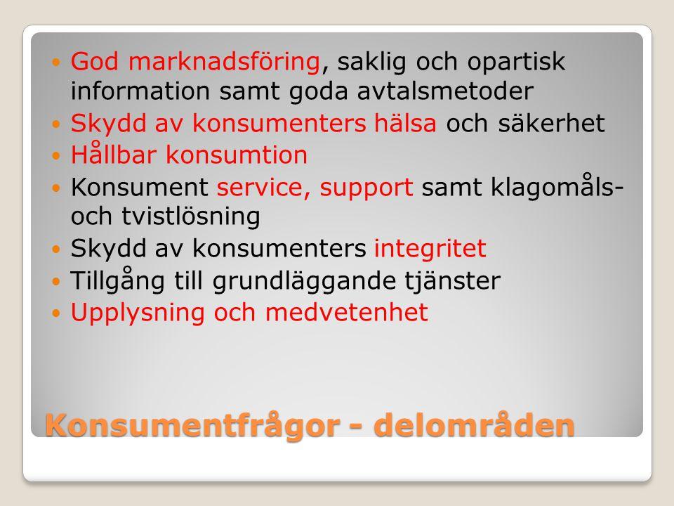 Konsumentfrågor - delområden
