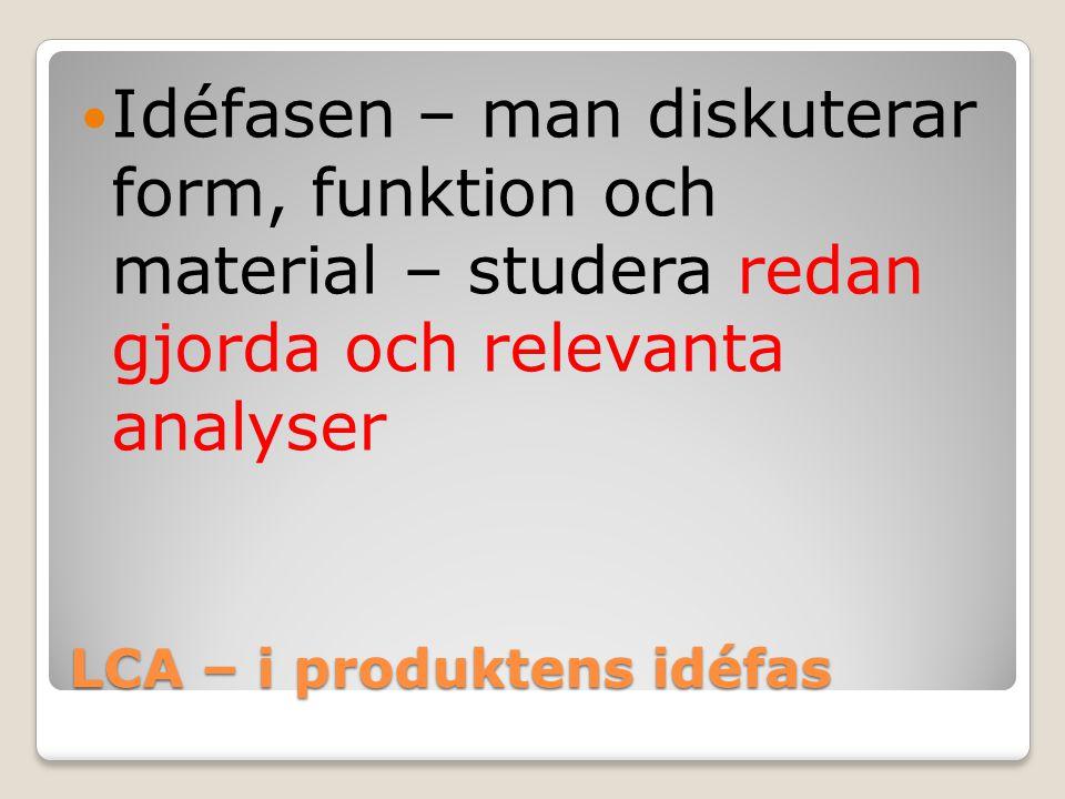 LCA – i produktens idéfas