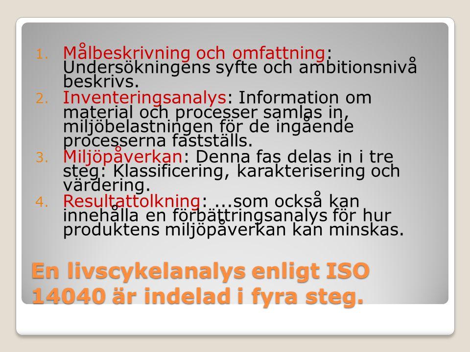 En livscykelanalys enligt ISO 14040 är indelad i fyra steg.
