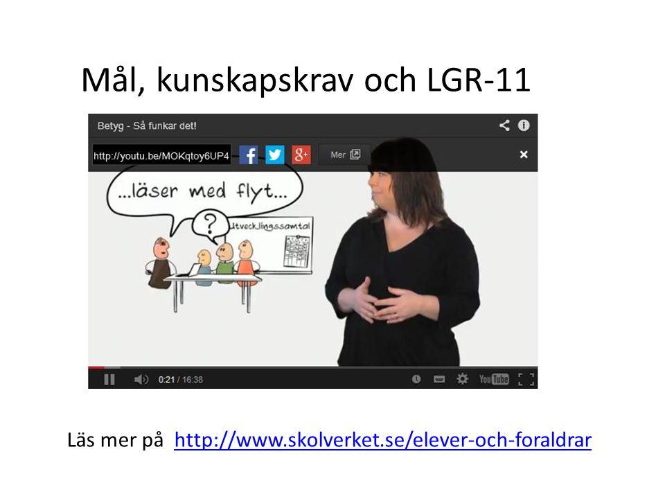 Mål, kunskapskrav och LGR-11