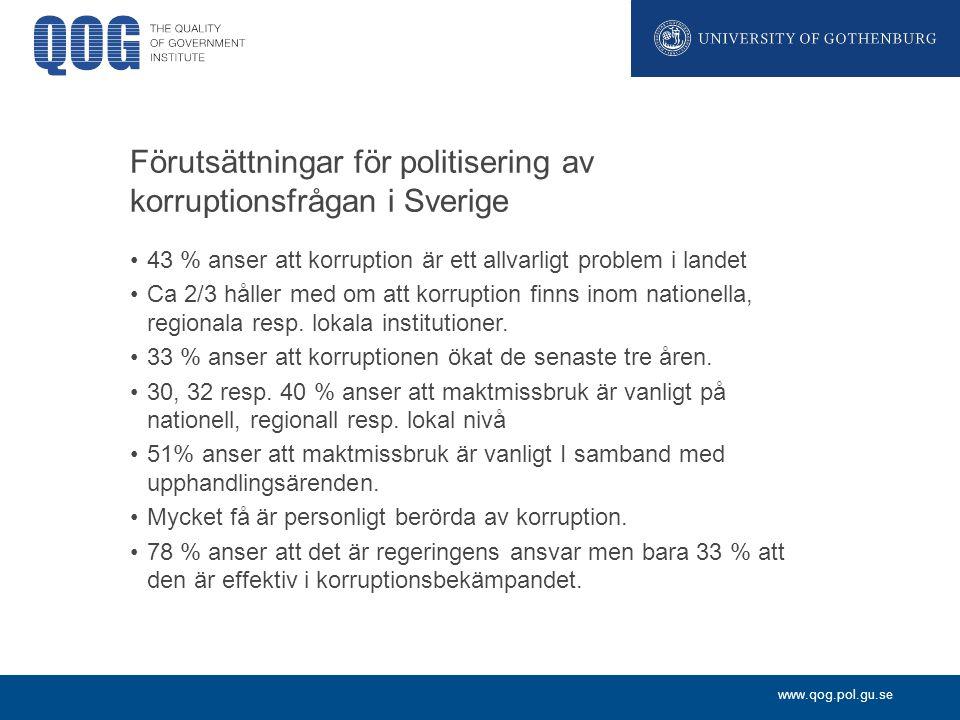 Förutsättningar för politisering av korruptionsfrågan i Sverige