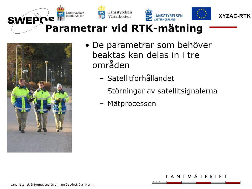Parametrar vid RTK-mätning