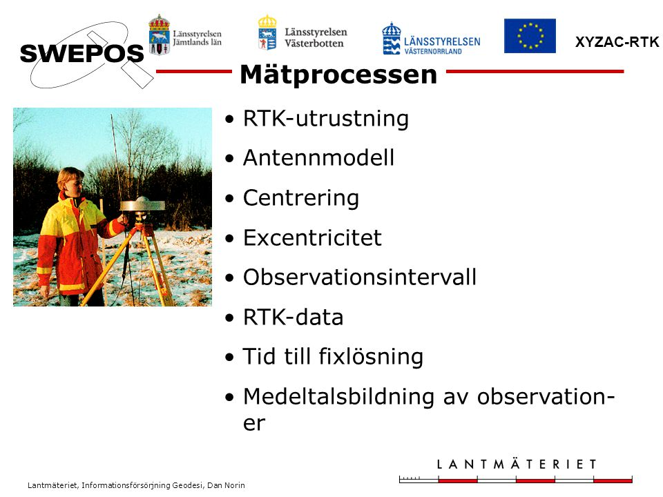 Mätprocessen RTK-utrustning Antennmodell Centrering Excentricitet