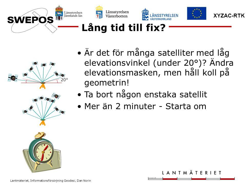 Lång tid till fix Är det för många satelliter med låg elevationsvinkel (under 20°) Ändra elevationsmasken, men håll koll på geometrin!