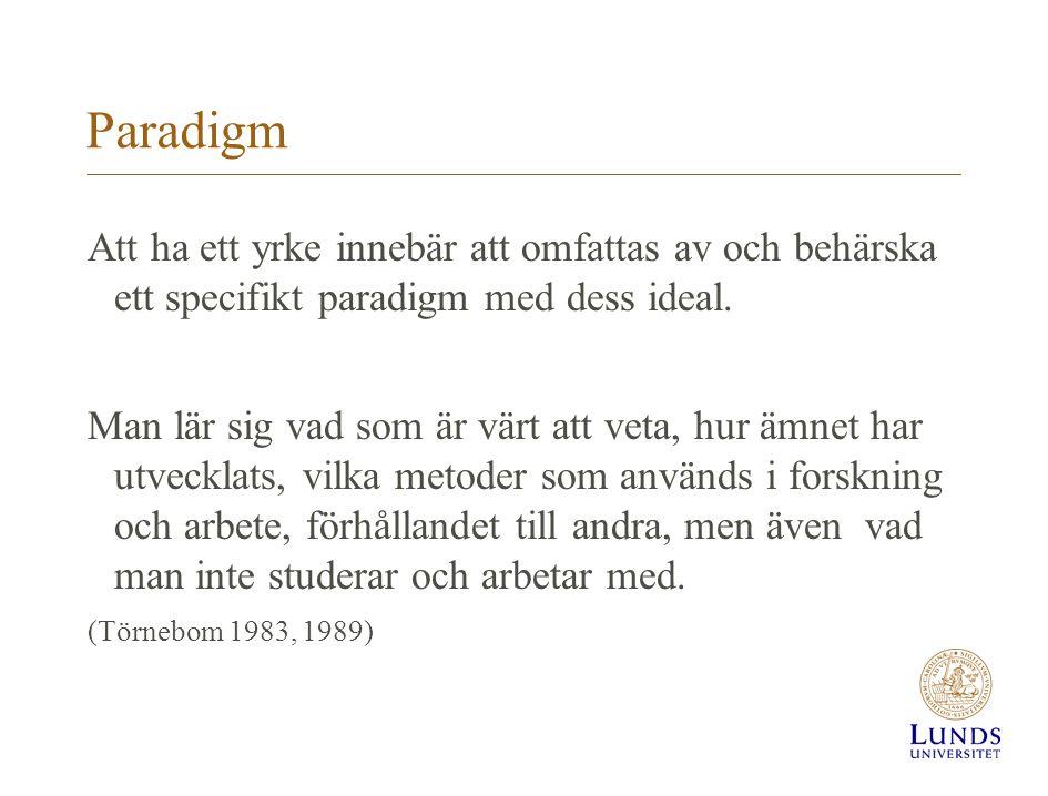 Paradigm Att ha ett yrke innebär att omfattas av och behärska ett specifikt paradigm med dess ideal.