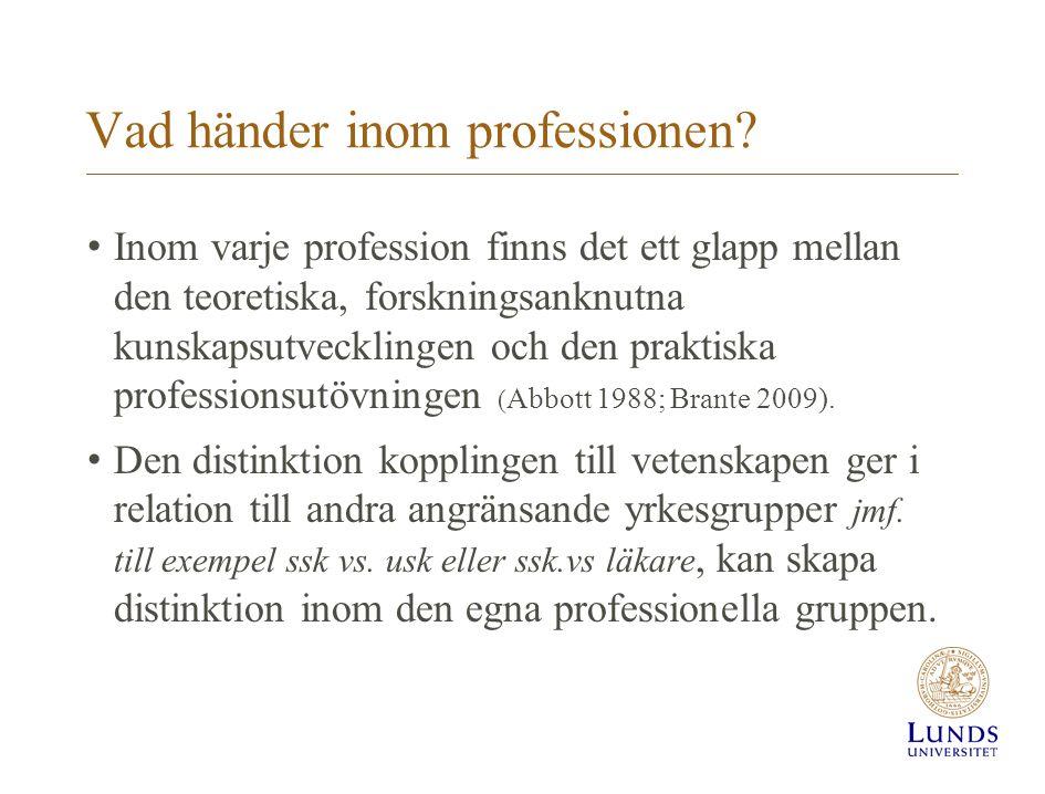 Vad händer inom professionen