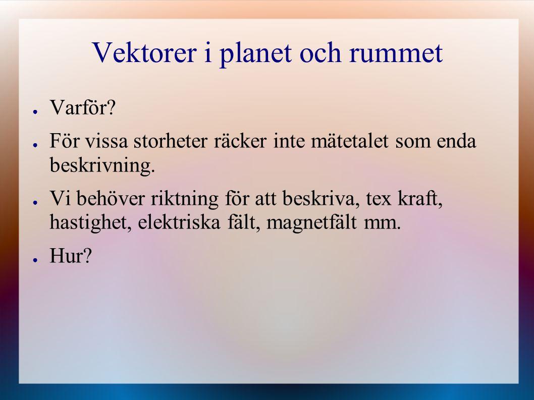 Vektorer i planet och rummet