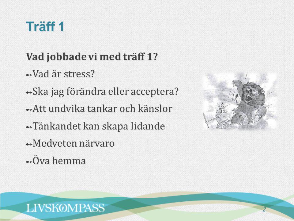Träff 1 Vad jobbade vi med träff 1 Vad är stress