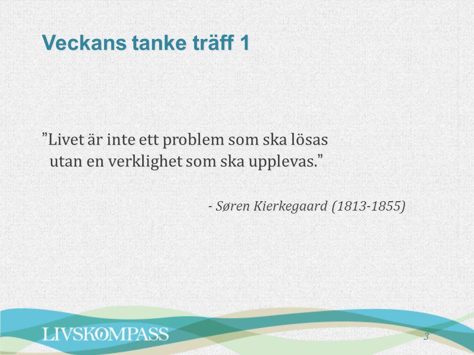 Veckans tanke träff 1 Livet är inte ett problem som ska lösas utan en verklighet som ska upplevas. - Søren Kierkegaard (1813-1855)