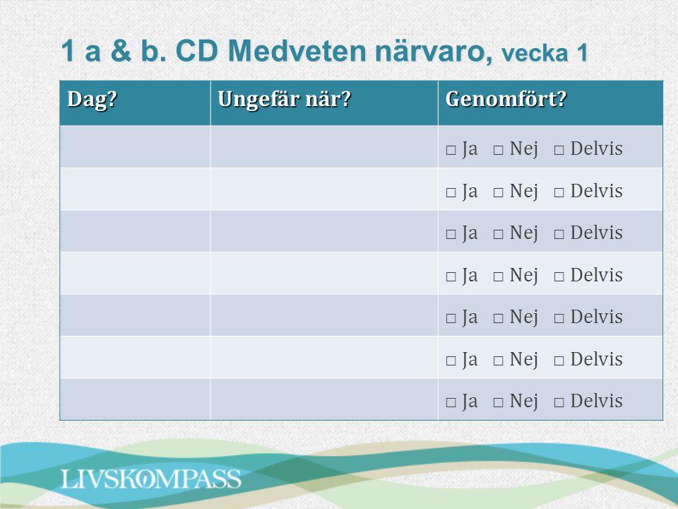 1 a & b. CD Medveten närvaro, vecka 1