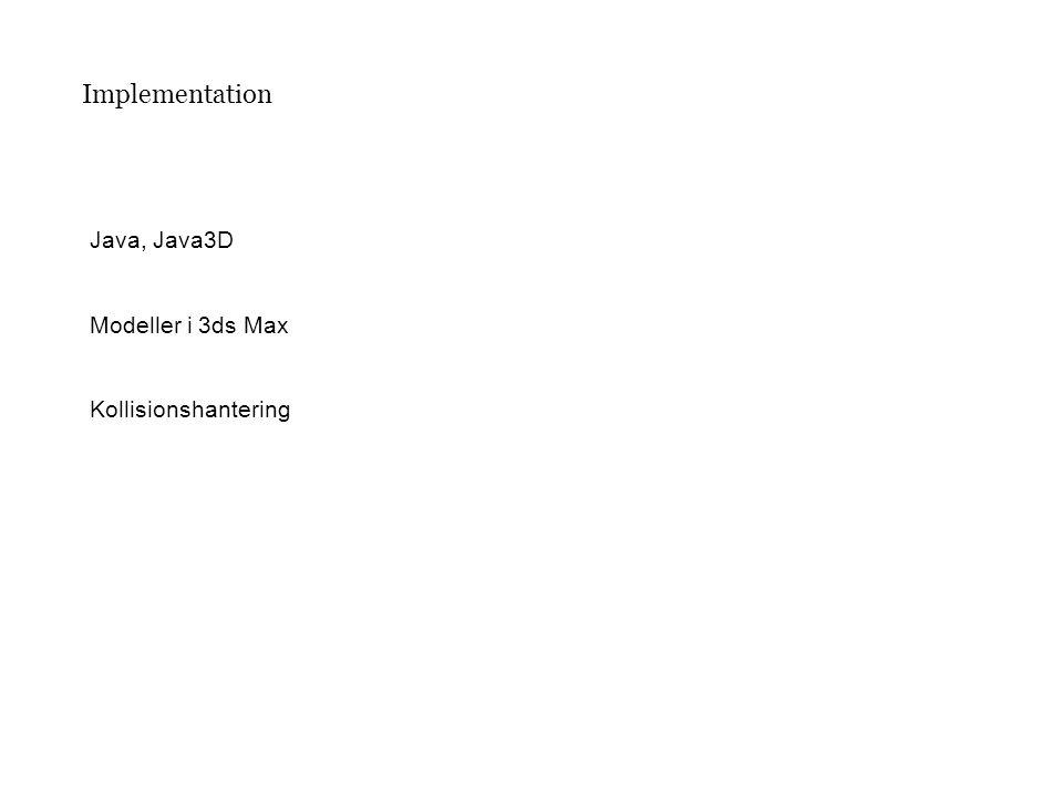 Implementation Java, Java3D Modeller i 3ds Max Kollisionshantering