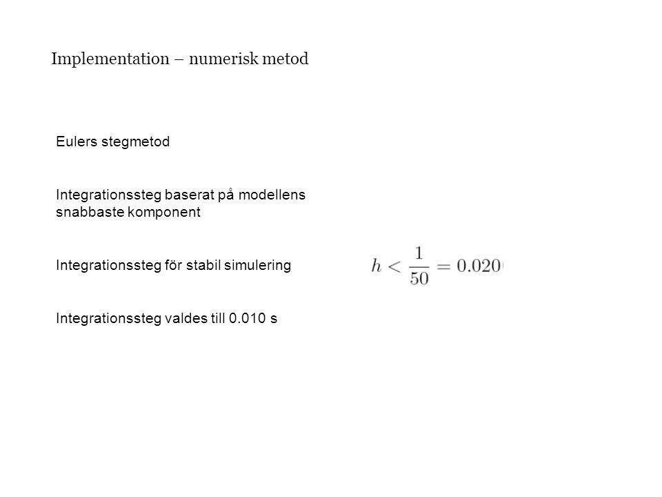 Implementation – numerisk metod