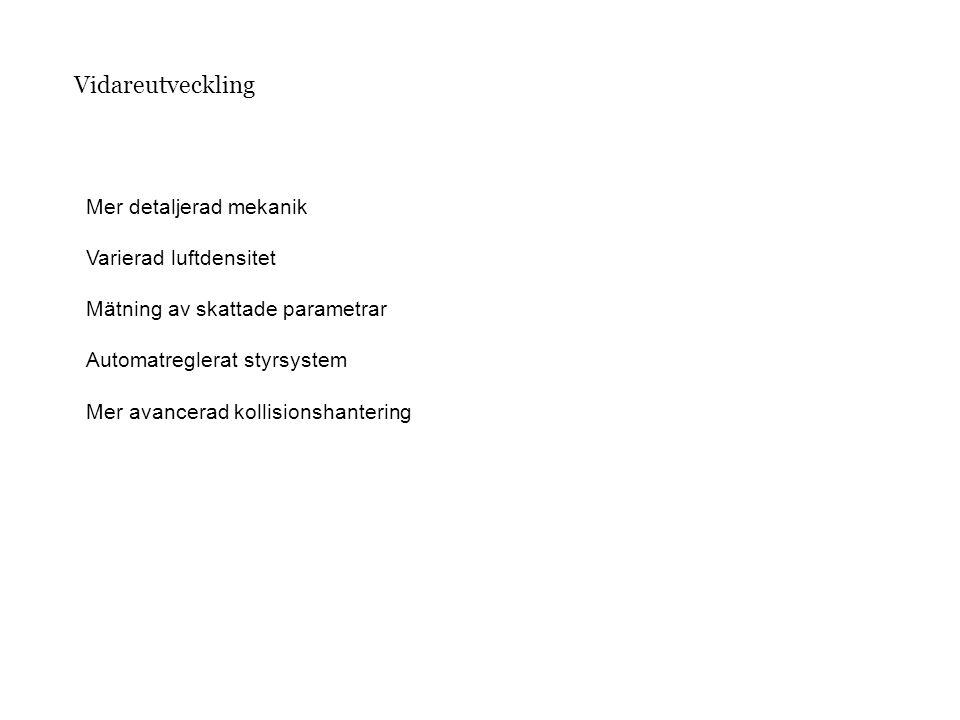 Vidareutveckling Mer detaljerad mekanik Varierad luftdensitet