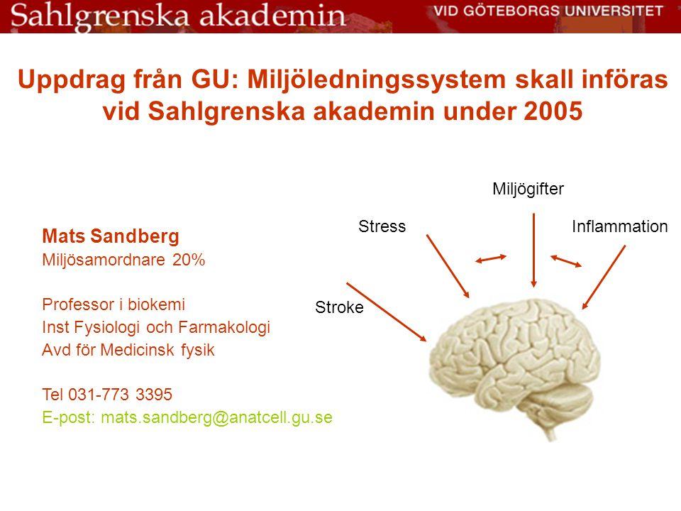 Uppdrag från GU: Miljöledningssystem skall införas vid Sahlgrenska akademin under 2005