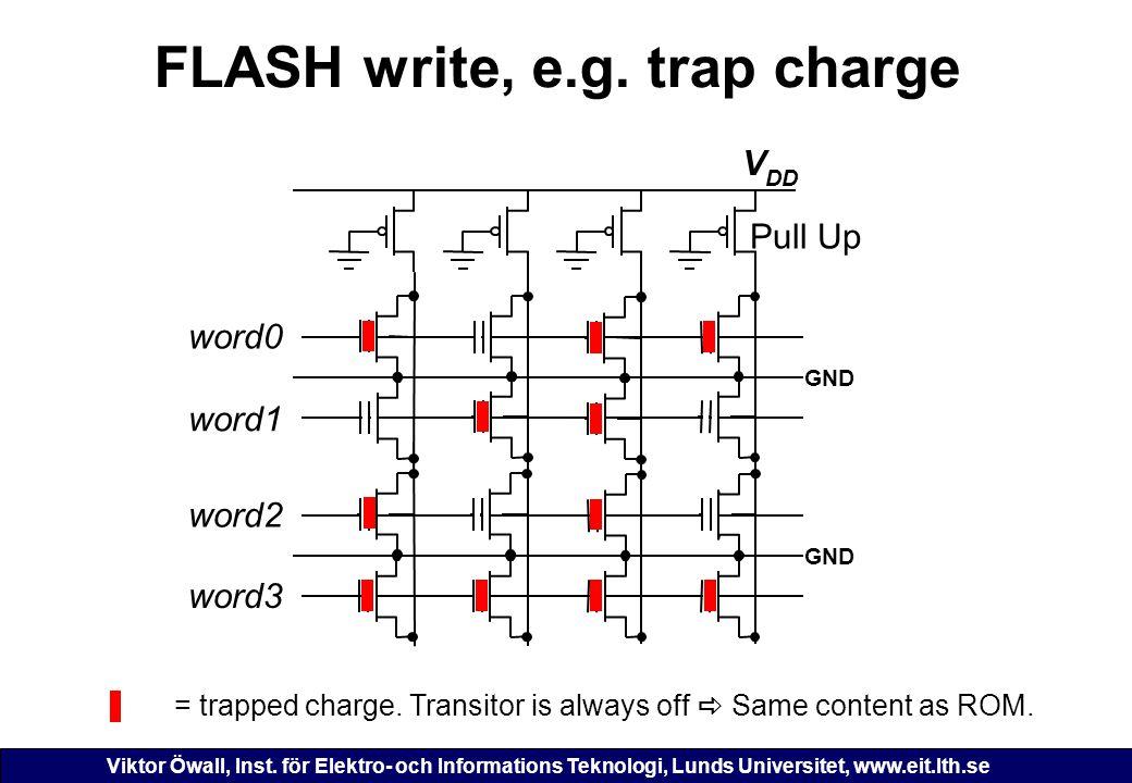 FLASH write, e.g. trap charge