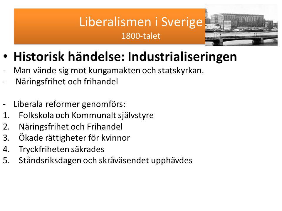 Liberalismen i Sverige 1800-talet