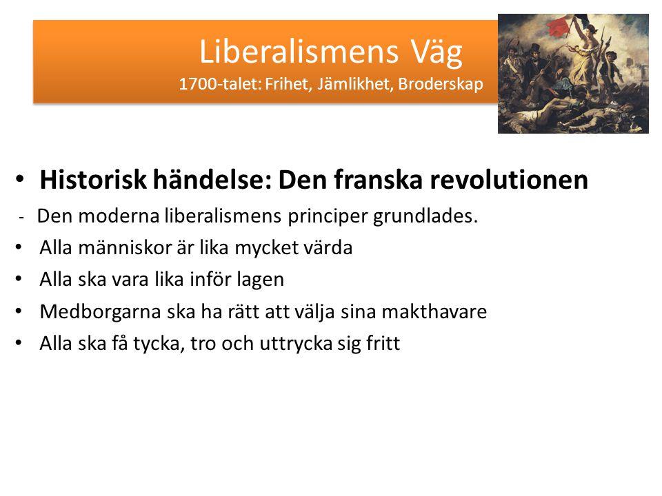 Liberalismens Väg 1700-talet: Frihet, Jämlikhet, Broderskap