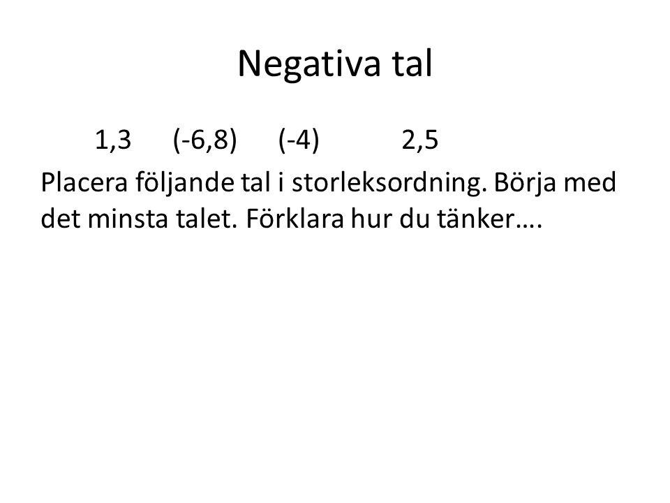 Negativa tal 1,3 (-6,8) (-4) 2,5 Placera följande tal i storleksordning.