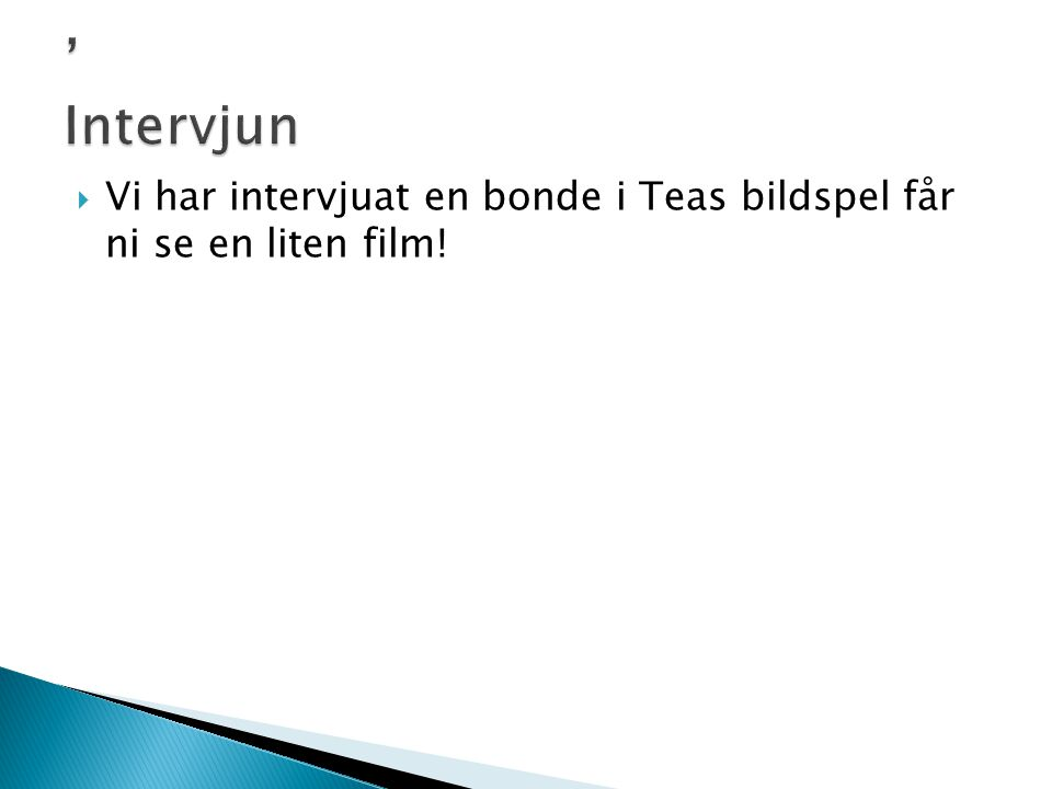 ' Intervjun Vi har intervjuat en bonde i Teas bildspel får ni se en liten film!