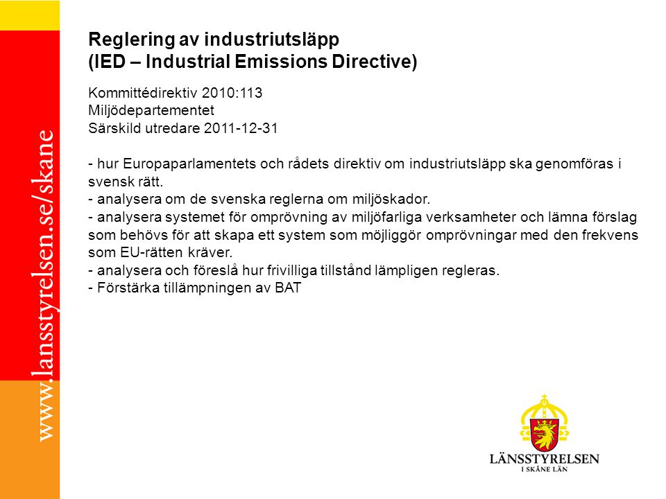 Reglering av industriutsläpp (IED – Industrial Emissions Directive)