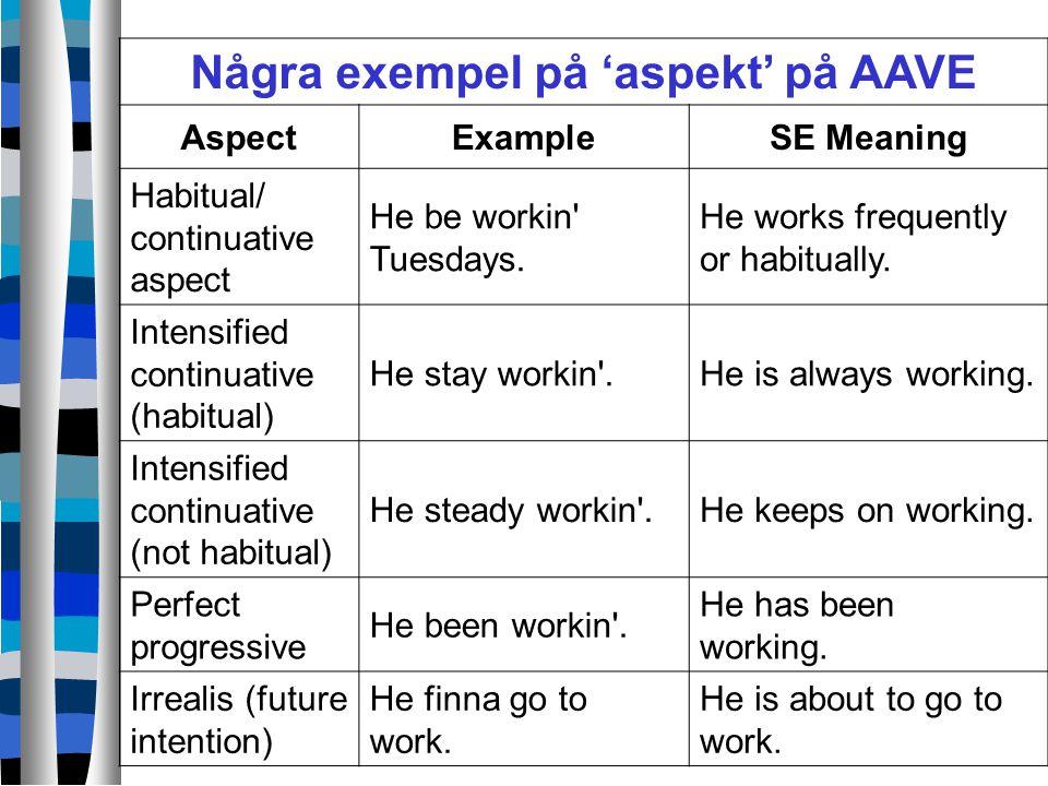 Några exempel på 'aspekt' på AAVE