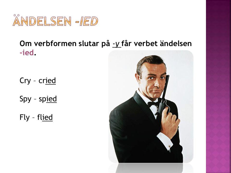 Ändelsen -ied Om verbformen slutar på -y får verbet ändelsen -ied.