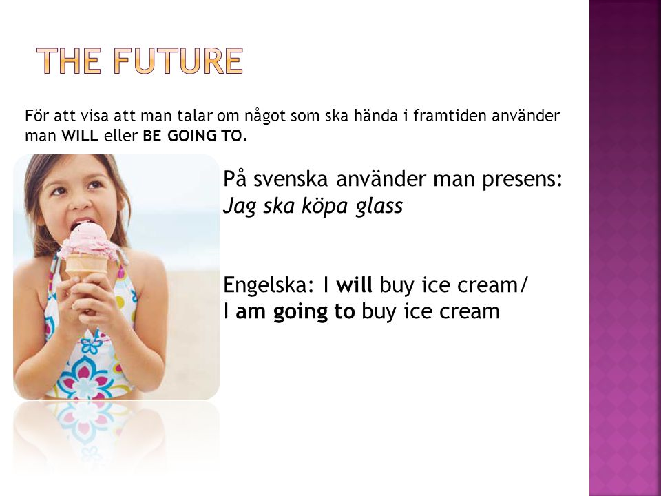 THE FUTURE Engelska: I will buy ice cream/ I am going to buy ice cream