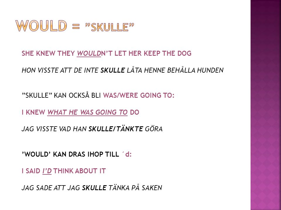 Would = skulle SHE KNEW THEY WOULDN'T LET HER KEEP THE DOG