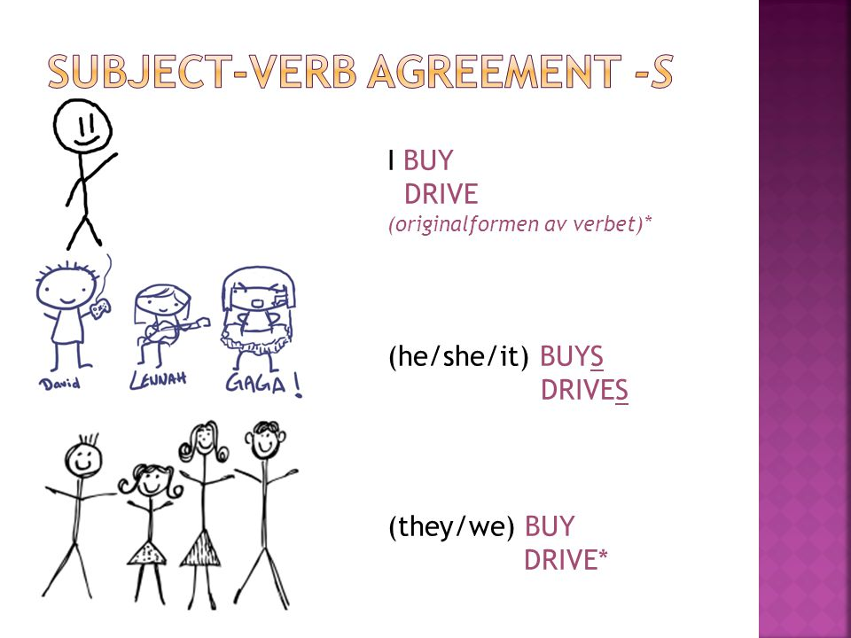 SUBJECT-VERB AGREEMENT -S