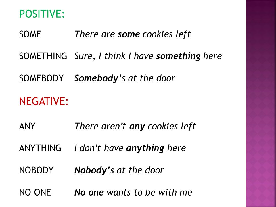 POSITIVE: NEGATIVE: SOME There are some cookies left