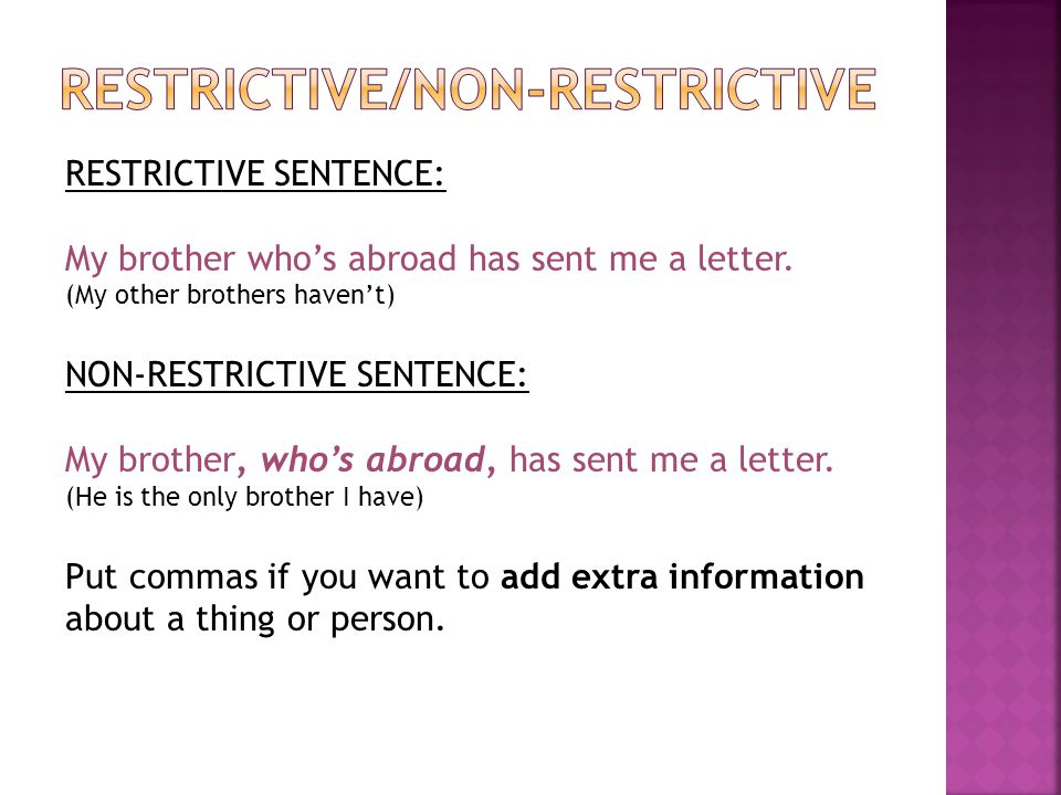 Restrictive/non-restrictive