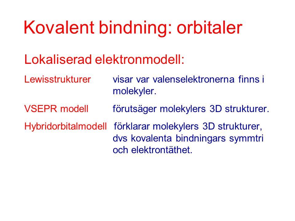 Kovalent bindning: orbitaler