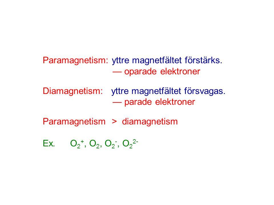 Paramagnetism: yttre magnetfältet förstärks. — oparade elektroner