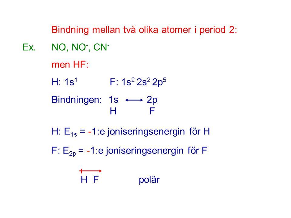 Bindning mellan två olika atomer i period 2: