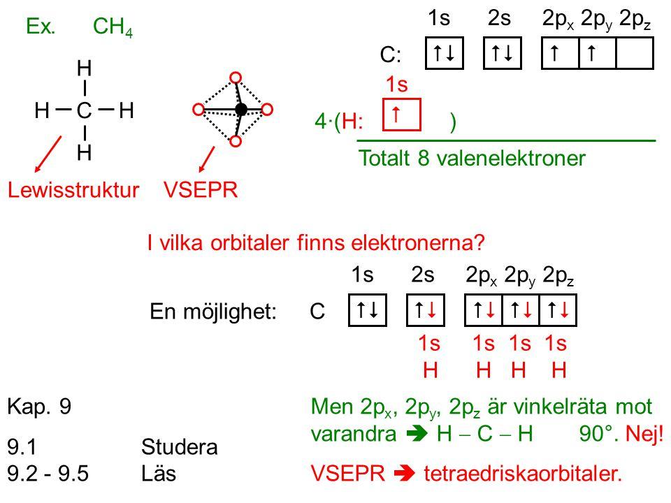 Totalt 8 valenelektroner
