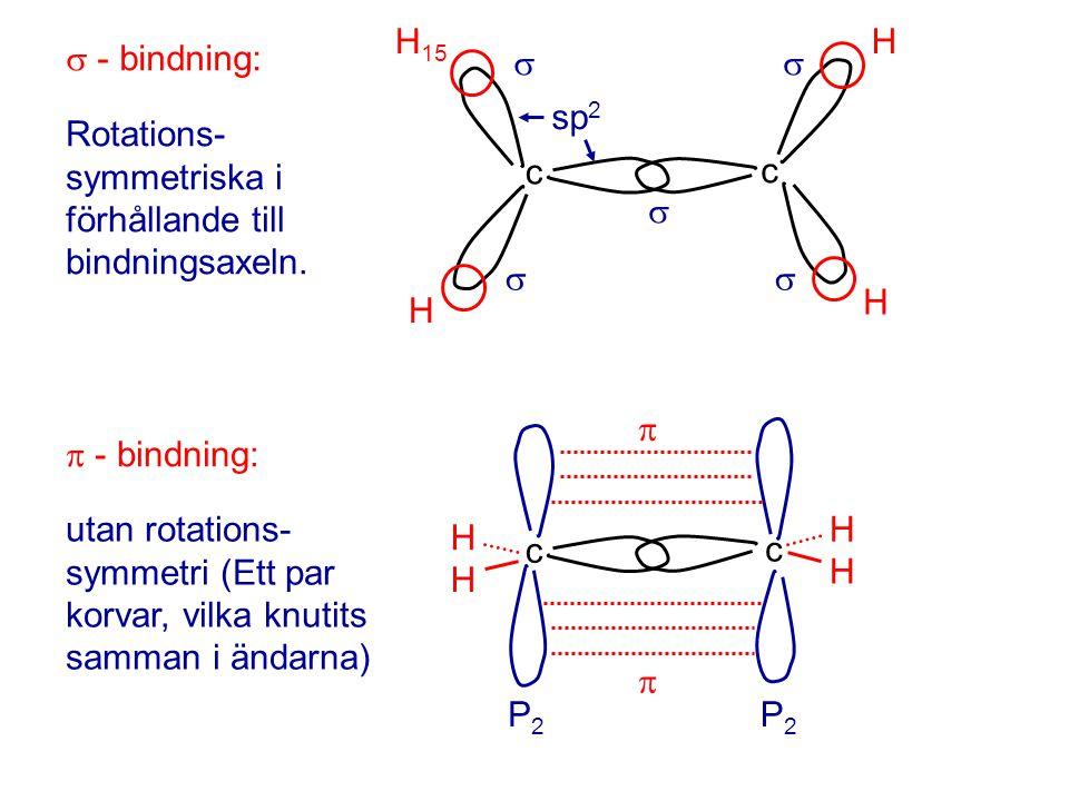 c H15. H.  sp2.  - bindning: Rotations-symmetriska i förhållande till bindningsaxeln.  - bindning: